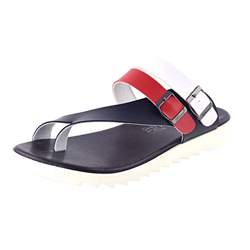 Herren Zehentrenner Pantoletten, Sandalen Hausschuhe mit Korkfußbett Schwarz Rot