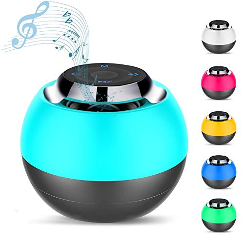 Macrourt Mini Altavoz Bluetooth,Caja de Música Chulo Altavoz Redondo inalámbrico con Botón Táctil, Luces de Cambio de Color LED Portátil, Lámpara de Noche para niños,Micrófono incorporado soporte tarjeta Micro SD para Teléfonos Ordenador