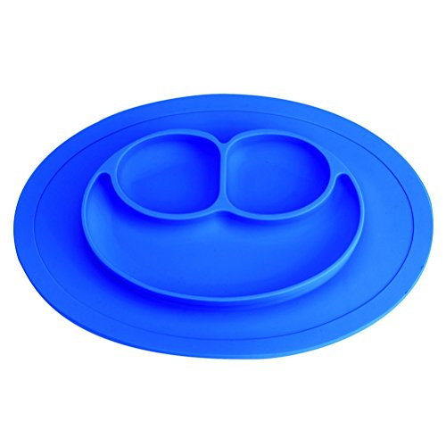 mxdmai Silikon Baby Teller von BPA Frei und Lebensmittelqualität Silikon-Matte für Babymahlzeit Kinder, Blau - Desinfizieren Geschirrspüler
