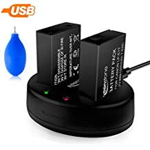 2 x Keenstone LP-E17 camera batteries 7.2 V/1050 mAh and 1 x dual charger, suitable for Canon EOS M3, M5, M6, 200D, 77D, 750D, 760D, 800D, 8000D, Kiss X8i, Rebel T6i, T6s, including air dust fan