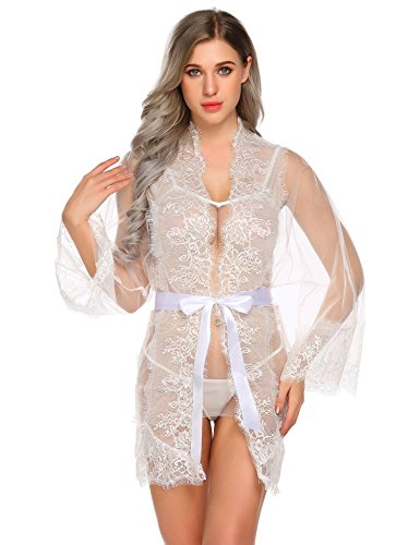 Livesimply Women's Cotton See Through Lingerie Robe Set Lace Mesh Babydoll Nightwear with G-String (White-Style-2, Large)