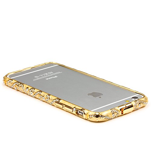 Original UrCover® Apple iPhone 6 Schutz Hülle Aluminium Bumper Diamond Zubehör Hülle Case Cover Alu Cover Metal Weiß Champagner Gold Glasfolie