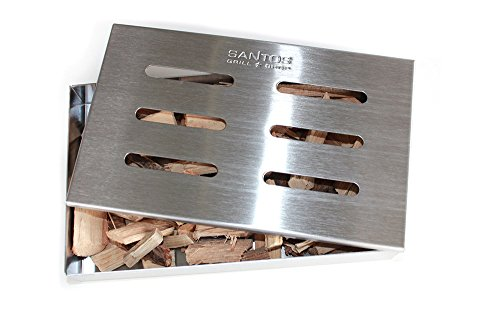 41xYiY%2B5vwL - Santos Smokerbox Räucherbox Edelstahl Grillzubehör für Gasgrill, Kohlegrill und Kugelgrill  Aromabox Maße 21x13x3,4 cm