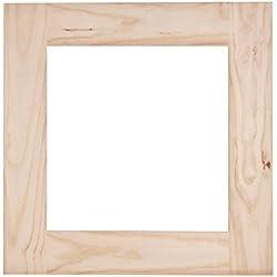 Muebles Natural – Marco cuadrado Orita para espejo, en madera de pino, sin pintar ni barnizar, dimensiones 60 cm ancho x 2 cm fondo x 60 cm alto