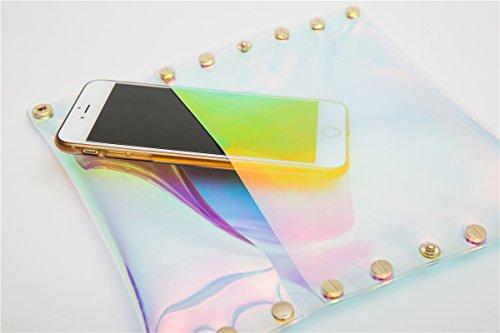 Zarapack da donna Chiara ologramma arcobaleno trasparente borsa pochette, Clear with Inner Bag (trasparente) - BA928 Rainbow
