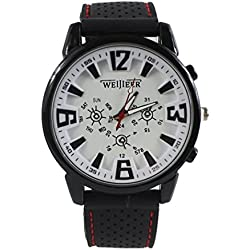 Gullor Weijieer Unisex Classic Juding Analog Large Digital Scale Wrist Watches with TPU Rubber Band - White