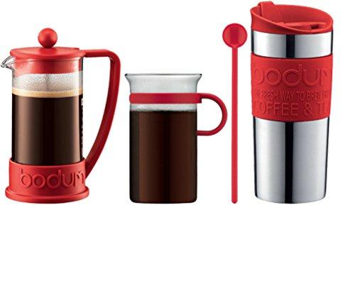 Bodum - K10948-294 - Set Cafetière à Piston 3 Tasses, 0.35l - Mug de Voyage Inox 0.35l - Verre à Café 0,3 L - Mélangeur 20 cm - Rouge