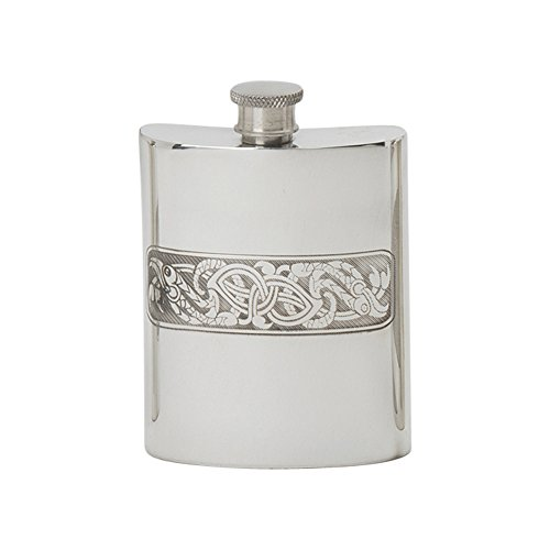 Edwin Blyde & Co tradizionale forma di Rene arrotolato Celtic Serpent panel design Spirit Flask, Pewter, 170,1gram