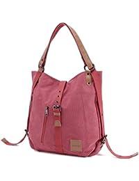 JOSEKO Canvas Tasche, Damen Rucksack Handtasche Damen Vintage Umhängentasche Anti Diebstahl Tasche Hobo Tasche für Alltag Büro Schule Ausflug Einkauf