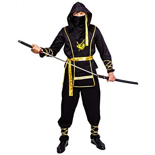 Ninja Kostüm Männer - SEA HARE Schwarzes Ninja-Kostüm für Erwachsene(One Size)