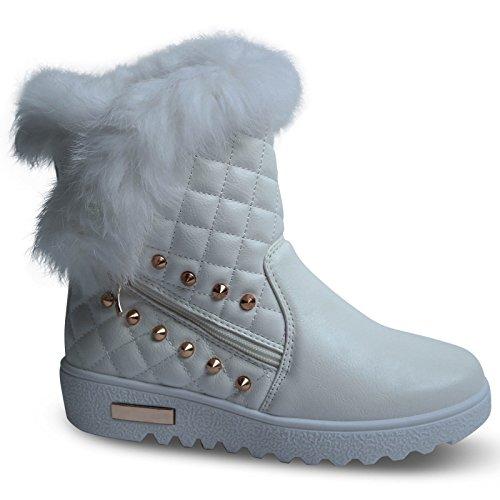 Damen Stiefel gefüttert Stiefeletten Boots Schnee Camouflage Nieten neu ST608 (39, (Schnee Weiße Boots)