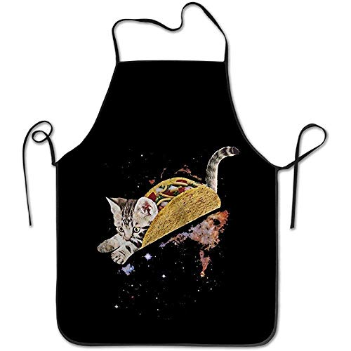 Cat Easy Mädchen Kostüm - HTETRERW Taco Cats Space Christmas Apron for Baking Crafting Gardening Cooking Durable Easy Cleaning Creative Bib for Man and Woman Standar Size