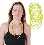 Islander Fashions Inselbewohner Mode Neon Halskette und Gummie Armreifen Set 1980er Jahre 80er Jahre Tanz Kost�mfest Zubeh�r gelb Einheitsgr��e