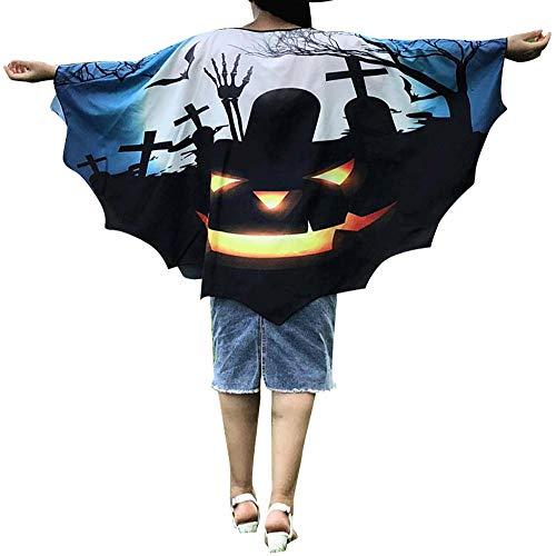 Lazzboy Kleidung Halloween Frauen Neuheit Kürbis Print Cape Schal Poncho Schal Wrap Bat(M,Blau)
