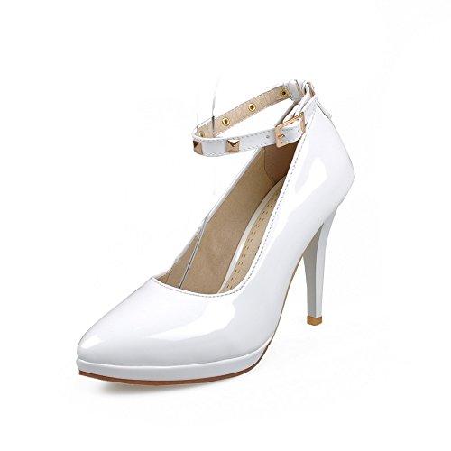 AllhqFashion Damen Stiletto Rein Schnalle Spitz Schließen Zehe Pumps Schuhe Weiß