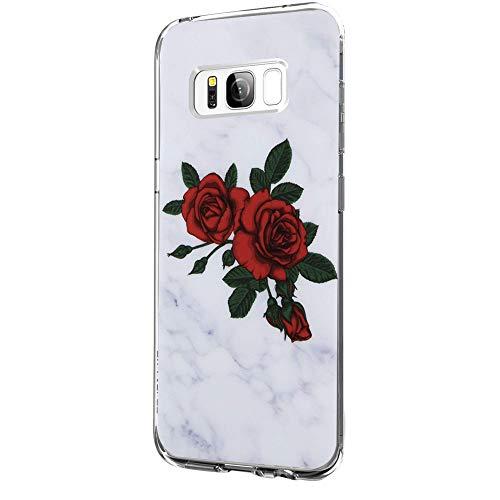 Riyeri Hülle Compatible with Samsung Galaxy S8 Hülle Klar Slim TPU Silikon Bumper Handyhülle für Samsung S8 Plus - Marmor & Blume (S8, 13) -