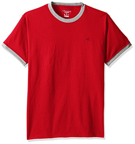 Champion Men's Classic Jersey Ringer Tee, Scarlet/Oxford Gray Heater, 2XL - Jersey Tee Oxford