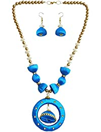 DollsofIndia Bead And Cyan Thread Necklace With Earrings - Necklace - 19 Inches, Pendant - 2.5 Inches, Earrings...
