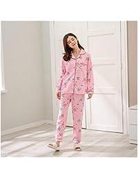 d20642fb19 HAOLIEQUAN Pijama De Algodón Pijamas De Mujer Conjuntos Primavera Otoño  Manga Larga Estampado De Ropa De