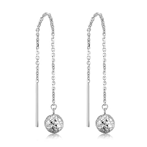 14ct 585 White Gold Drop Style 3D Ball Link String U Pull Through Threader Chain Earrings, Women Jewellery Wedding Anniversary Gift