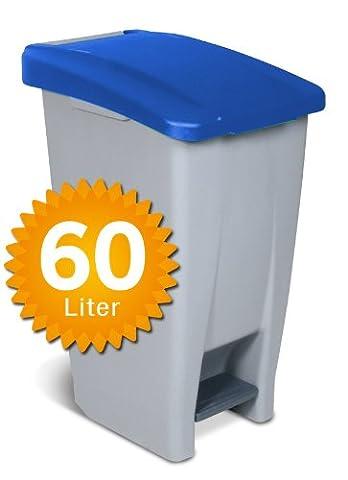 Rolleimer mit Tretöffnung, Inhalt 60 Liter, grau/blau