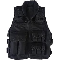 VGEBY1 Chaleco táctico de Caza, Chaleco de Combate de Asalto Militar Ajustable del ejército, Chaleco Portador de Placa de Asalto Airsoft Paintball Chaleco Protector para Juegos de la Selva (Negro)