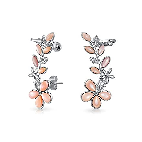 Bling Jewelry Pink Mother of Pearl Flower Cartilage Earring Rhodium Plated Brass