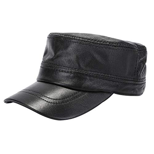 Wildleder Newsboy Cap Hat (LWY Hut, Flat Cap, Vintage Cap, Winter Windproof Cap, Sweat Absorbent Breathable, Unlined, Three Dimensional Cut, Male, Black, Brown,Black,XXL)