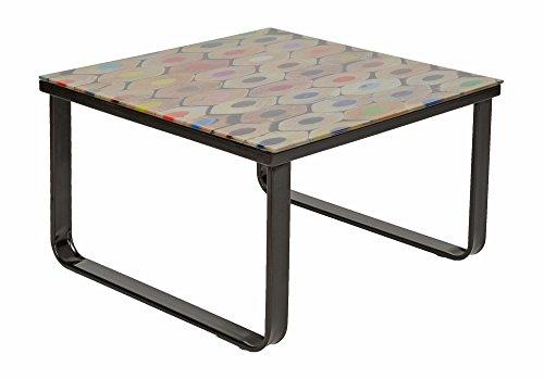 ts-ideen Table console d'appoint téléphone fleurs en verre design crayon 55 x 55 cm
