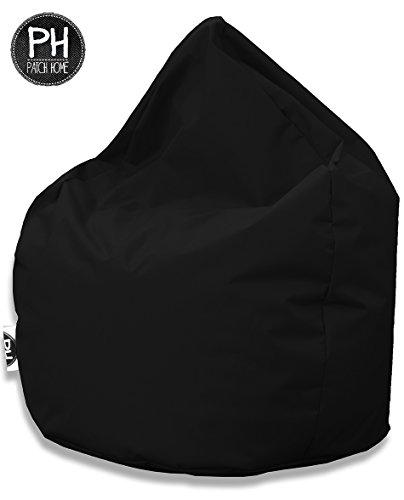 Patchhome Sitzsack Tropfenform Schwarz für In & Outdoor XXL 420 Liter - mit Styropor Füllung in 25 versch. Farben und 3 Größen