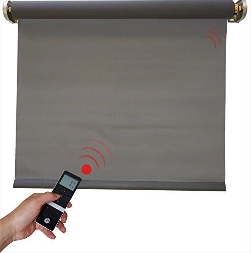 h Elektrisches Sonnenschutzrollo, inkl. Motor, grau, 5% Gewebe-Öffnungsrate, 800x2500 mm -NEU- (1 ST) -