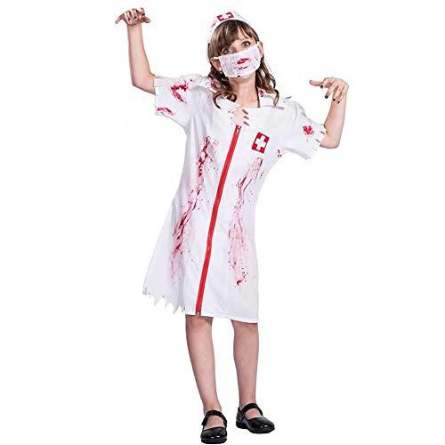 Kleine Mädchen Für Kostüm Zombie - Hcxbb-b Kinder Halloween Kostüm, Zombie Krankenschwester Kleines Mädchen Halloween Kostüm, Mit Hut & Maske (Farbe : White, Size : S)