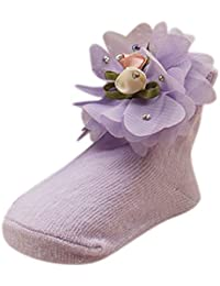 BOBORA Newborn Baby Girl Socks Big Flower Princess Socks One Size 0-6Months