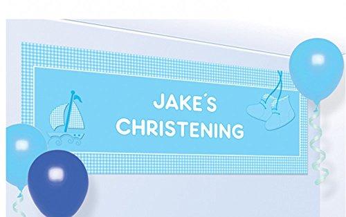 Amscan 1,2x 45cm Taufe Beute Personalisierte Banner, blau