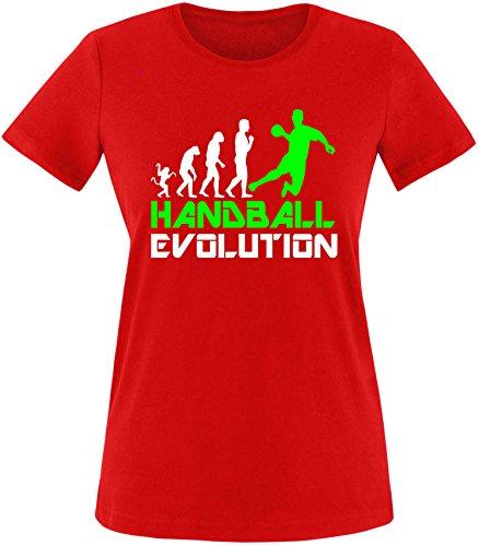 EZYshirt® Handball Evolution Damen Rundhals T-Shirt Rot/Weiss/Neongr