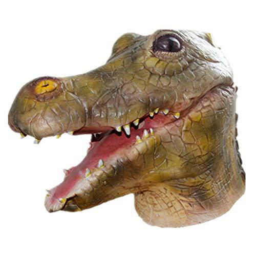 (XIAOLONGY Halloween Latex Tier Maske Adult Maske Wilden Horror Crocodile Headgear Dinosaurier Maske Heikel,Color)