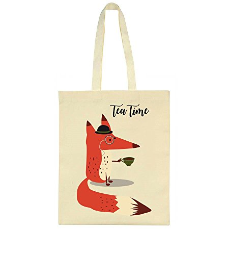 Tea Time Posh Fox With Cup Of Tea Tote Bag