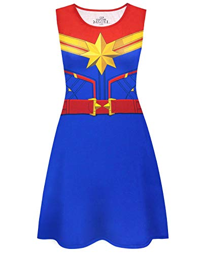 Superhelden Coole Frauen Kostüm - Captain Marvel Damen Superheld Cosplay Kleid Kostüm