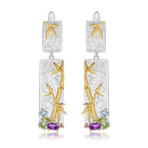 QQSS 925 Sterling Silber Handgemachte Bambus Drop Ohrringe Für Frauen Natürliche Topaz Amethyst Peridot Ohrringe Feine Schmuck (Bambus-ohrringe Sterling Silber)