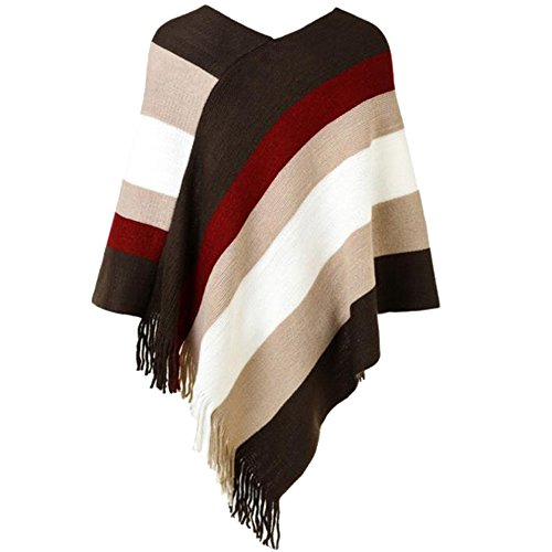 Sfit Femme Cape Manteau Sweater Pull Tops Manches Longues Pullover Tricot Rayure avec Frange Casual Beige