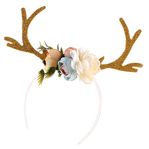 Gazechimp Erwachsene Kinder Weihnachten Blumen Geweihe Kostüm Haarreif Haarband - ()