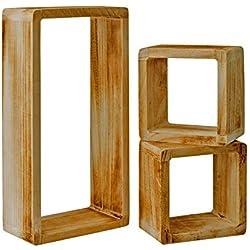 Rebecca Mobili Set 3 Etageres Vintage, Bibliotheque Suspendue, 1 Rectangle 2 Cubes, Bois Clair, pour Chambre Salon – Dimensions: 41 x 21 x 9 cm (HxLxL) - Art. RE4121