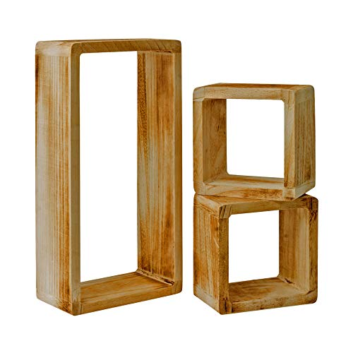 Rebecca Mobili Set 3 Etageres Vintage, Bibliotheque Suspendue, 1 Rectangle 2 Cubes, Bois Clair, pour Chambre Salon – Dimensions: 41 x 21 x 9 cm (HxLxL) - Art. RE4121