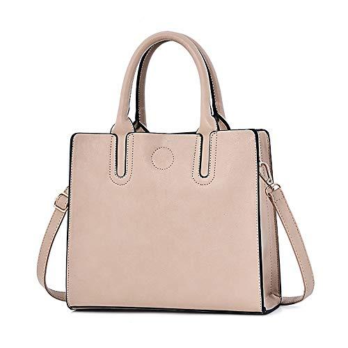 BMKWSG Damen Handtaschen Leder Schultertaschen Große Tragegriffe Umhängetasche Umhängetasche Umhängetasche Modern Rice White