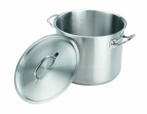 Crestware 24-Quart Stainless Steel Stock Pot with Pan Cover 24 Quart Pot