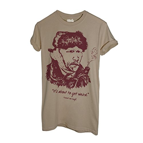 MUSH T-Shirt Van Gogh It's About to Get Wired - Berühmt by Dress Your Style - Herren-L-Beige