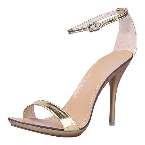 RUAYE Vogue 7colori Donne t-stage Clasic Dancing sexy tacco alto sandali in Tinta Unita, oro (Gold), 39 EU