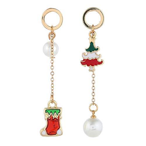 GRRNUY Kreative asymmetrische Ohr Schrauben am Heiligabend Santa Claus Weihnachten Ohrringe ohr Nagel -