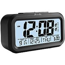 """DreamSky Digitalwecker Dual Alarm"""", zwei Weckzeiten, laut, ansteigender Weckton, sensorgesteuerte Nachtlichtfunktion, Schlummerfunktion, Uhrzeit, Datum und Temperaturanzeige, vier Alarmmodi, großes LCD Display, Batteriebetrieb, Schwarz"""