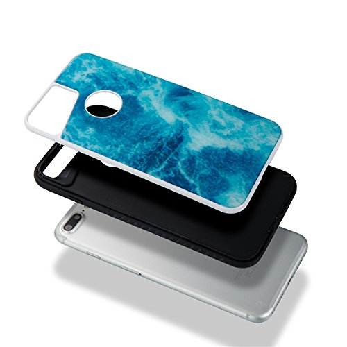 Étui en marbre iPhone 8 Plus, Coque iPhone 7 Plus,Lifetrut [Modèle de marbre] Pare-chocs Arrière Doux 2 en 1 Housse en Silicone en Caoutchouc TPU pour iPhone 8 Plus/ iPhone 7 Plus [Orange] E204-Océan bleu